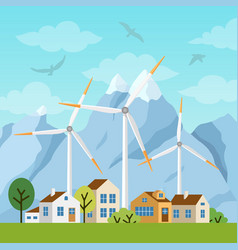 landscape with private houses and windmills vector image