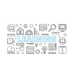 learning horizontal line banner or vector image