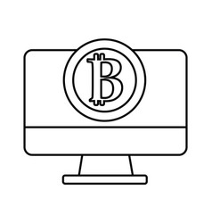 line computer technology with bitcoin currency vector image