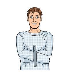 Man in straitjacket pop art vector