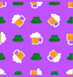 mug beer with foam green hat traditional vector image