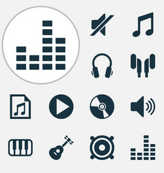 Music icons set collection of earmuff megaphone vector