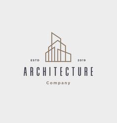 outline architecture real estate building logo vector image