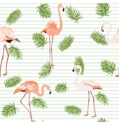 Palm tree leaves pink flamingos pattern stripes vector
