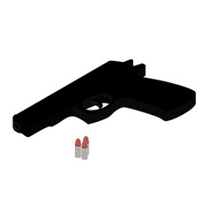 pistol gun and bullets isometric view isolated on vector image