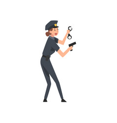 police woman with gun and handcuffs female police vector image