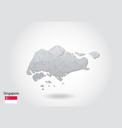 Polygonal singapore map low poly design map made vector