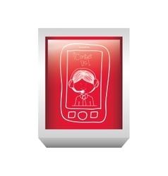 Rectangle button tech smartphone with man operator vector