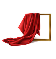 Red silk cloth cover wooden photo frame isolated vector