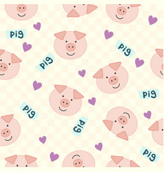 seamless cartoon texture with pig and heart vector image