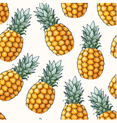 seamless pattern with high detailed pine apple vector image