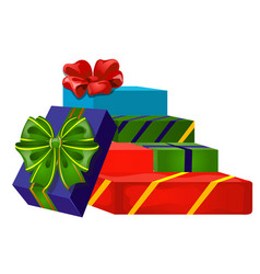 Set gift boxes with ribbon bow colorful vector