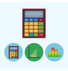 Set icons with calculator indicator chart vector image