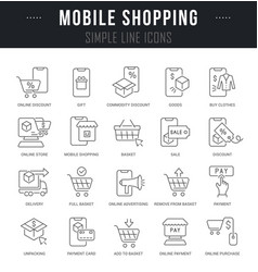 set line icons mobile shopping vector image