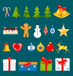 set of christmas symbols vector image