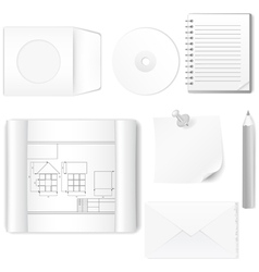 Set of office items vector image