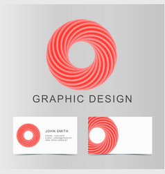 Set red business abstract circle icon and cards vector