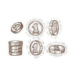 shiny coins isolated sketches money or cash stack vector image