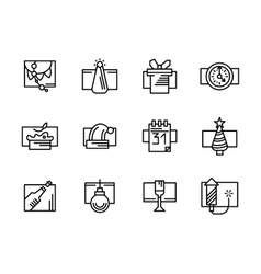Simple line New Year icons set vector image