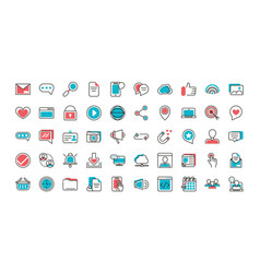 social media icons set line and fill vector image
