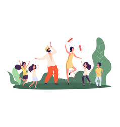 street performers children and circus performers vector image