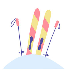 striped skis stuck in a snowdrift and sticking vector image