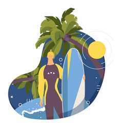 Surf camp male character with surfboard standing vector