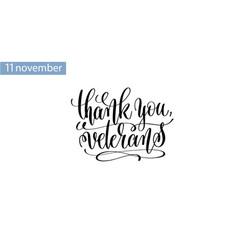 thank you veterans hand lettering inscription vector image