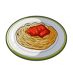 the dish in which wheat spaghetti with red sauce vector image