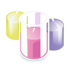 three bright colorful candles isolated on white vector image
