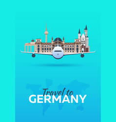 Travel to germany airplane with attractions vector