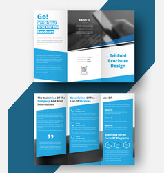 Tri-fold brochure with diagonal lines and a place vector