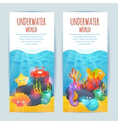 Underwater sea animals vertical banners set vector