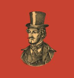 Victorian gentleman with hat and mustache man vector