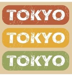 Vintage Tokyo stamp set vector