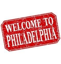 Welcome to Philadelphia red square grunge stamp vector