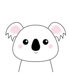 White koala face black contour silhouette kawaii vector
