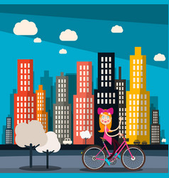 woman on bike with city skyscrapers on background vector image