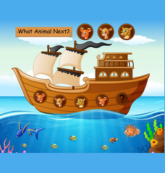 wood boat sailing with wild animals theme vector image