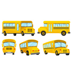 Yellow school bus viewed from different angles vector