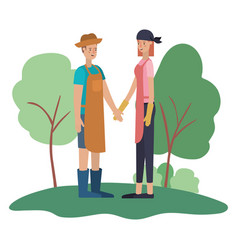 young couple in the landscape avatar character vector image