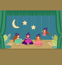 Young woman character school theatre performance vector