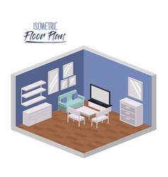isometric floor plan of living entertainment room vector image