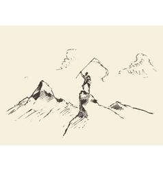 Man top mountain flag winner concept sketch vector image vector image