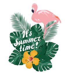 Summer time flamingo vector