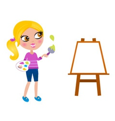happy little painter girl vector image vector image