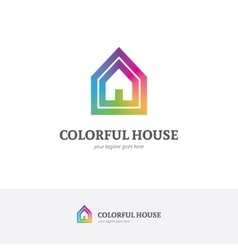 House logo in a rainbow colors vector image vector image