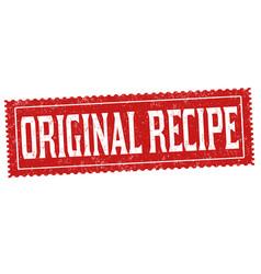 original recipe grunge rubber stamp vector image vector image