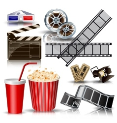 set of objects for cinematography clapperfilm vector image