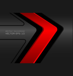 abstract red on dark gray metal arrow vector image